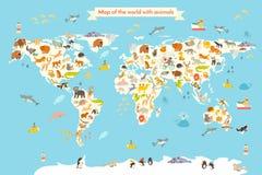 Mapa del mundo de los animales stock de ilustración