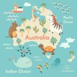 Mapa del mundo de los animales, Australia Imágenes de archivo libres de regalías