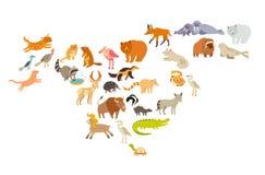 Mapa del mundo de los animales, Norteamérica Ejemplo colorido del vector de la historieta para los niños y los niños Imagen de archivo