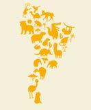 Mapa del mundo de los animales, Suramérica Ejemplo colorido del vector de la historieta para los niños y los niños Fotografía de archivo