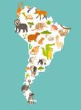 Mapa del mundo de los animales, Suramérica Ejemplo colorido del vector de la historieta para los niños y los niños Imagen de archivo