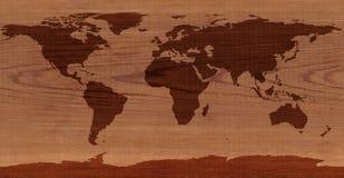 Mapa del mundo de madera del cedro Fotografía de archivo