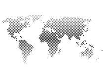 Mapa del mundo de semitono negro de pequeños puntos en el arreglo diagonal Pendiente horizontal bilinearia Vector plano simple Fotos de archivo libres de regalías