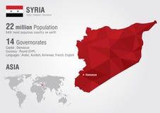 Mapa del mundo de Siria con una textura del diamante del pixel Fotografía de archivo libre de regalías