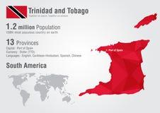 Mapa del mundo de Trinidad and Tobago con una textura del diamante del pixel Imágenes de archivo libres de regalías