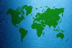 Mapa del mundo del concepto del ahorro del agua Foto de archivo libre de regalías