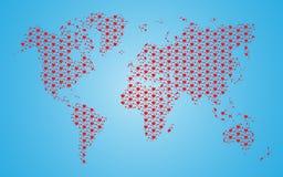 Mapa del mundo del corazón Foto de archivo libre de regalías