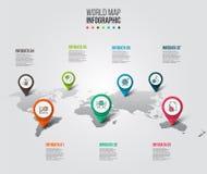 Mapa del mundo del vector con las marcas del indicador Imágenes de archivo libres de regalías