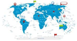 Mapa del mundo detallado e iconos brillantes en mapa Fotografía de archivo