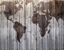 Mapa del mundo dibujado en efecto de madera de la lona Imágenes de archivo libres de regalías