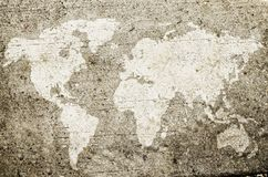Mapa del mundo dibujado en la pared Imagen de archivo libre de regalías
