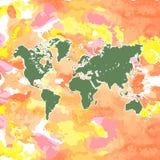 Mapa del mundo dibujado mano de la acuarela aislado en blanco Imagen de archivo