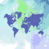 Mapa del mundo dibujado mano de la acuarela en blanco Fotografía de archivo