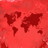 Mapa del mundo dibujado mano de la acuarela en blanco Fotografía de archivo libre de regalías
