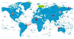 Mapa del mundo e iconos brillantes Fotos de archivo