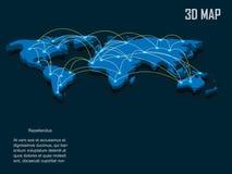 Mapa del mundo elegante del vector del azul 3d Fotografía de archivo libre de regalías