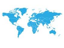 Mapa del mundo en color azul en el fondo blanco Mapa político del alto espacio en blanco del detalle Ejemplo del vector con el co stock de ilustración