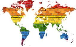 Mapa del mundo en colores de la bandera del orgullo stock de ilustración