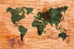 Mapa del mundo en corcho del abedul Fotografía de archivo