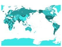Mapa del mundo en cuatro sombras de azules turquesa en el fondo blanco Alto mapa político centrado el Pacífico del detalle Vector ilustración del vector