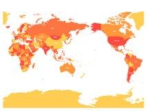 Mapa del mundo en cuatro sombras de naranja en el fondo blanco Alto mapa político centrado el Pacífico del detalle Ilustración de stock de ilustración