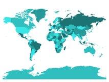 Mapa del mundo en cuatro sombras de turquesa en el fondo blanco Mapa político del alto espacio en blanco del detalle Ejemplo del  ilustración del vector