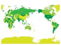 Mapa del mundo en cuatro sombras de verde en el fondo blanco Alto mapa político centrado el Pacífico del detalle Ilustración del  stock de ilustración