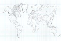 Mapa del mundo en el papel cuadriculado de la escuela Fotos de archivo
