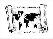 Mapa del mundo en el papel viejo del papiro Imagen de archivo libre de regalías