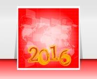 Mapa del mundo en la pantalla táctil digital del negocio, concepto 2016 de la Feliz Año Nuevo Imagen de archivo