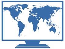 Mapa del mundo en la TV Imagenes de archivo