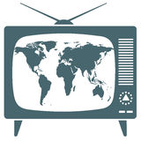 Mapa del mundo en la TV retra Fotos de archivo libres de regalías