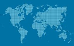 Mapa del mundo en pequeños cuadrados stock de ilustración