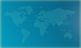 Mapa del mundo en un fondo azul hecho por los pixeles grandes ilustración 3D stock de ilustración