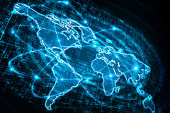 Mapa del mundo en un fondo tecnológico, brillando intensamente Imágenes de archivo libres de regalías