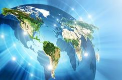 Mapa del mundo en un fondo tecnológico El mejor concepto del Internet de asunto global Elementos de esta imagen equipados cerca ilustración del vector