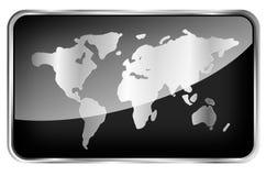 Mapa del mundo en una etiqueta negra Foto de archivo