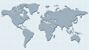 Mapa del mundo en vector retro del estilo de la nave Foto de archivo libre de regalías