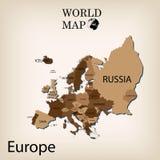 Mapa del mundo Europa Fotografía de archivo libre de regalías