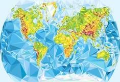 Mapa del mundo físico en estilo poligonal Imagen de archivo libre de regalías