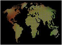 Mapa del mundo - fondo punteado extracto del vector Ejemplo colorido - amarillo, anaranjado, verde Imagen de archivo libre de regalías