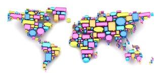 Mapa del mundo formado por las burbujas del discurso libre illustration