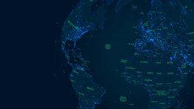 Mapa del mundo futurista de la red global de la ciencia ficción, ejemplo del vector ilustración del vector