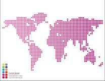 Mapa del mundo gráfico abstracto de puntos redondos con las marcas del indicador Imagenes de archivo