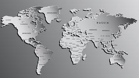 Mapa del mundo grabado en gris Altamente detallado Foto de archivo