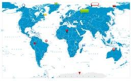 Mapa del mundo grande e iconos brillantes en mapa Foto de archivo libre de regalías