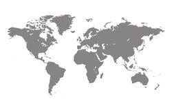 Mapa del mundo del gris del vector Fotos de archivo