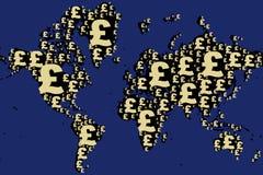 Mapa del mundo hecho con la muestra de la libra Foto de archivo