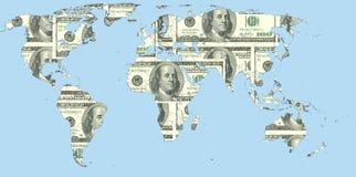 Mapa del mundo hecho de dólares de EE. UU. Imagen de archivo