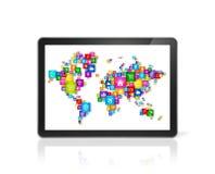 Mapa del mundo hecho de iconos en Tablet PC digital Nube que computa el co stock de ilustración